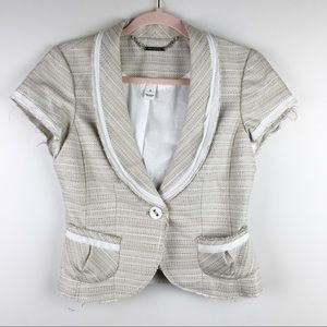 WHBM Frayed Hem Short Sleeve Tweed Blazer Tan Sz 4